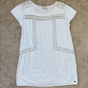 Roxy White Swimsuit Eyelet Cover Up Shirt